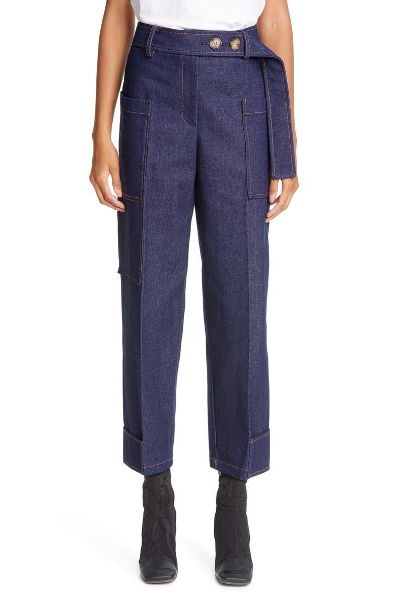 REJINA PYO Sadie High Waist Crop Denim Trousers, Main, color, DARK BLUE