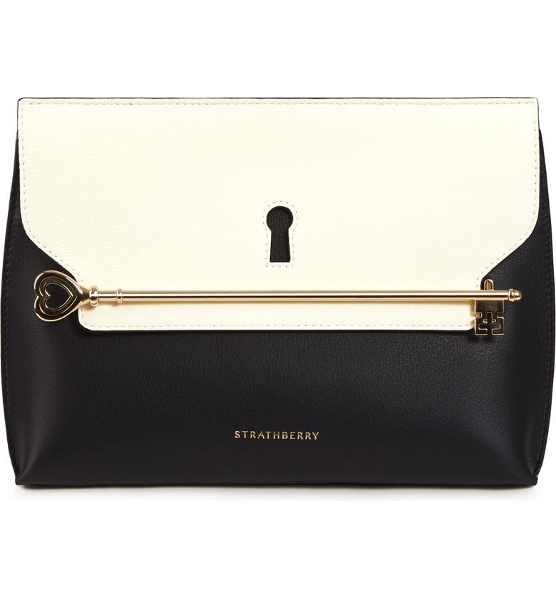 STRATHBERRY East/West Stylist Keyhole Leather Clutch, Main, color, BLACK/ VANILLA