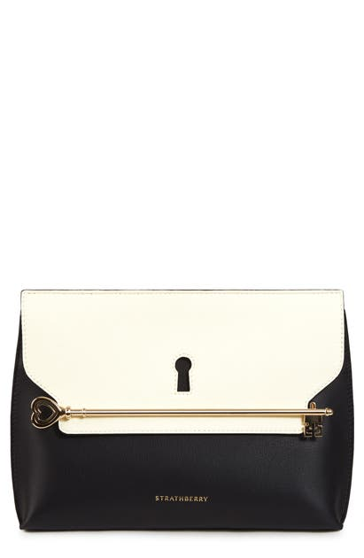 Strathberry East/west Stylist Keyhole Leather Clutch In Black/ Vanilla