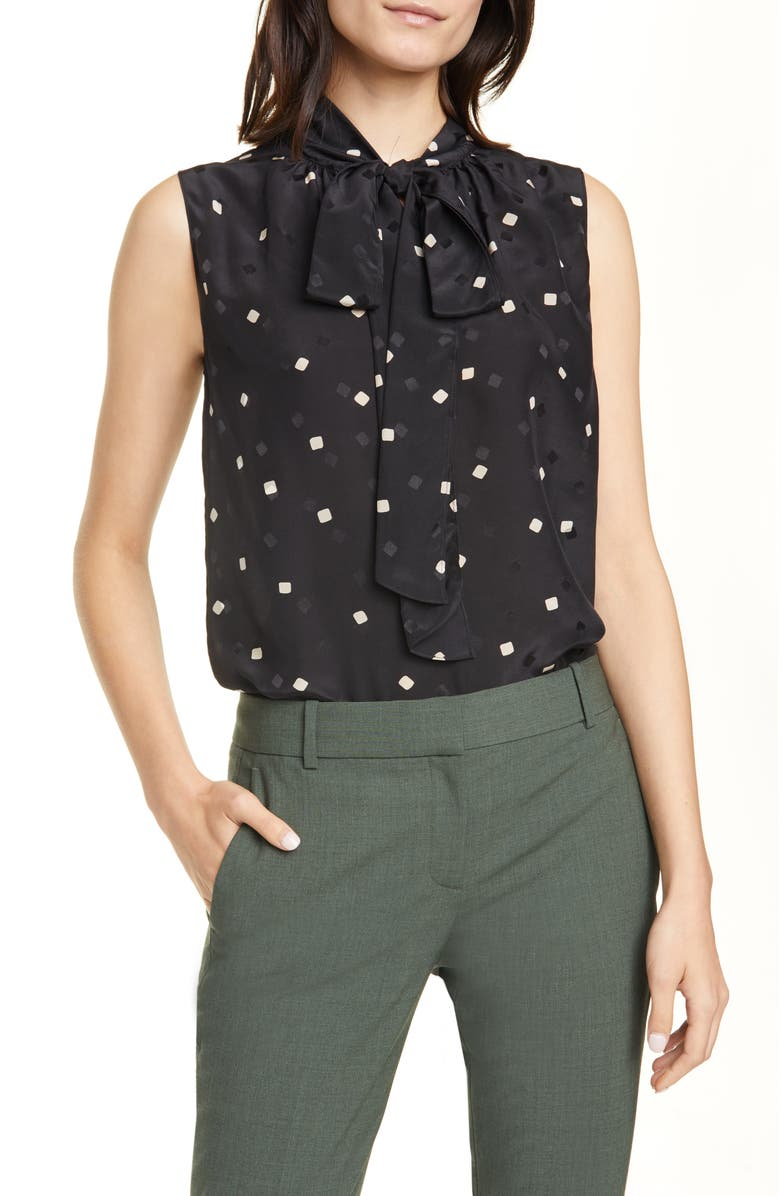 THEORY Square Dot Tie Neck Sleeveless Silk Blouse, Main, color, BLACK MULTI