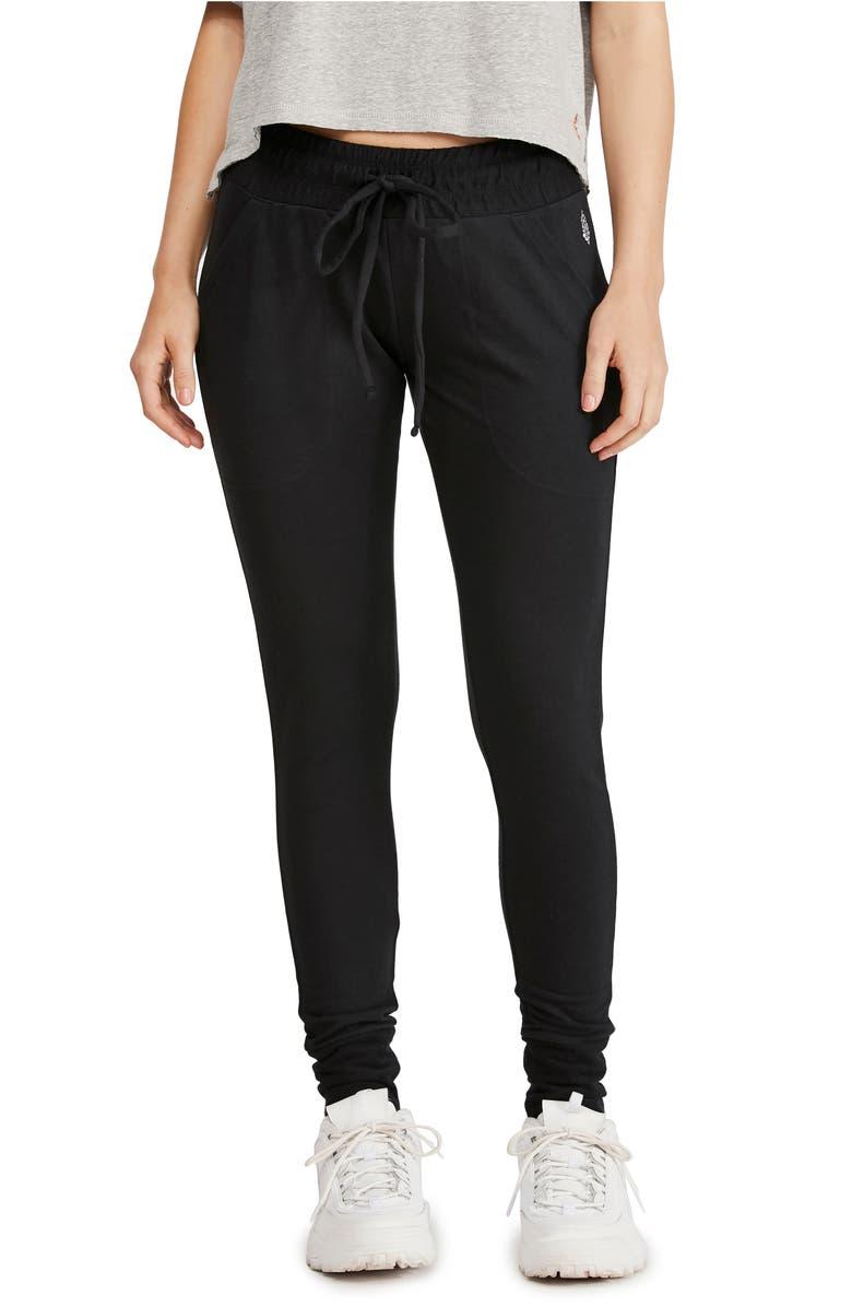 FREE PEOPLE FP MOVEMENT Sunny Skinny Sweatpants, Main, color, BLACK