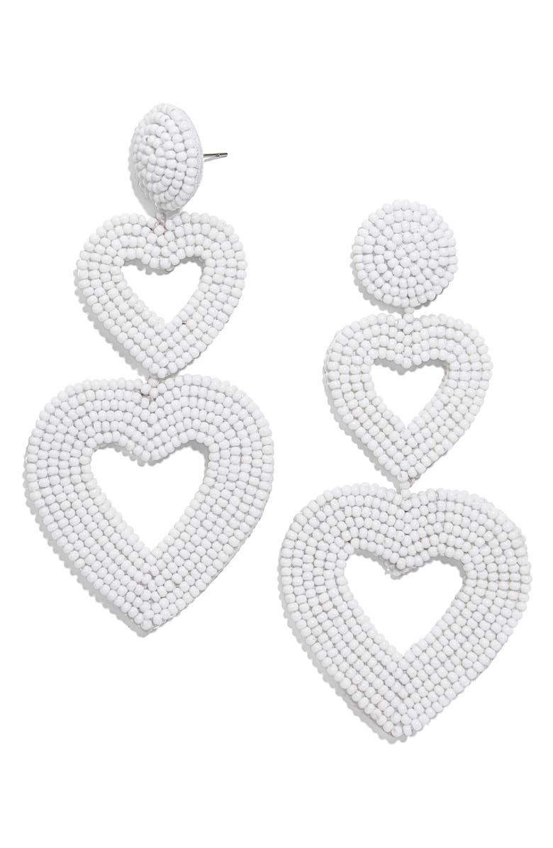 BAUBLEBAR Double Heart Beaded Drop Earrings, Main, color, WHITE