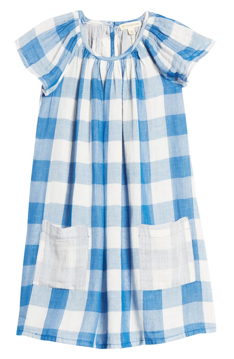 TUCKER + TATE Spring Time Gingham Check Flutter Sleeve Dress, Main, color, BLUE CLASSICS BUFFALO CHECK
