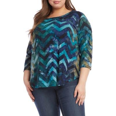 Plus Size Karen Kane Tie Dye Burnout Top, Blue