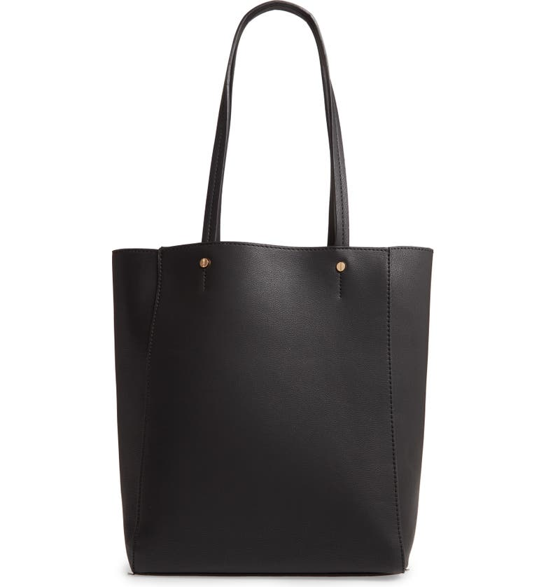 MALI + LILI Lucy North/South Vegan Leather Tote, Main, color, 001