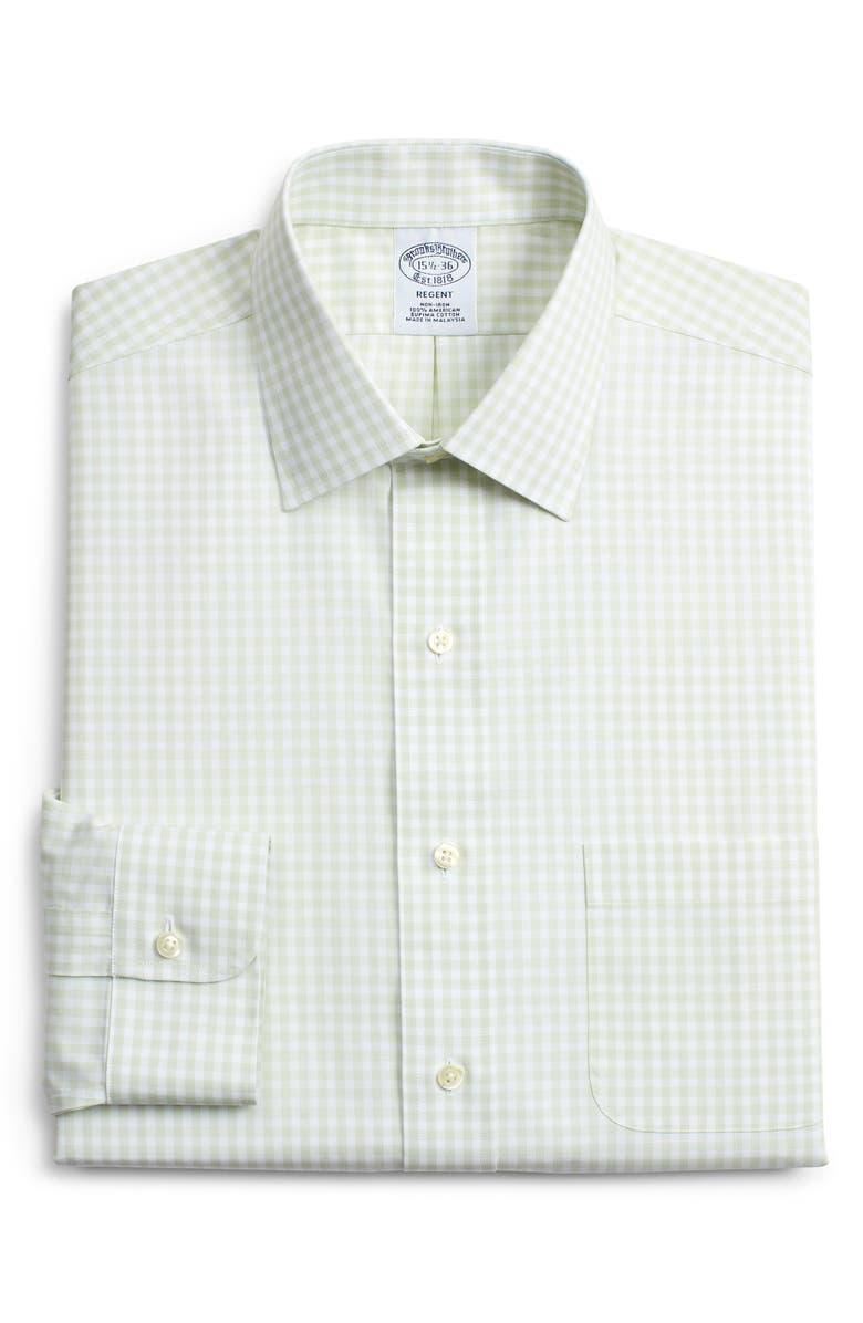 BROOKS BROTHERS Regent Regular Fit Check Dress Shirt, Main, color, GREEN