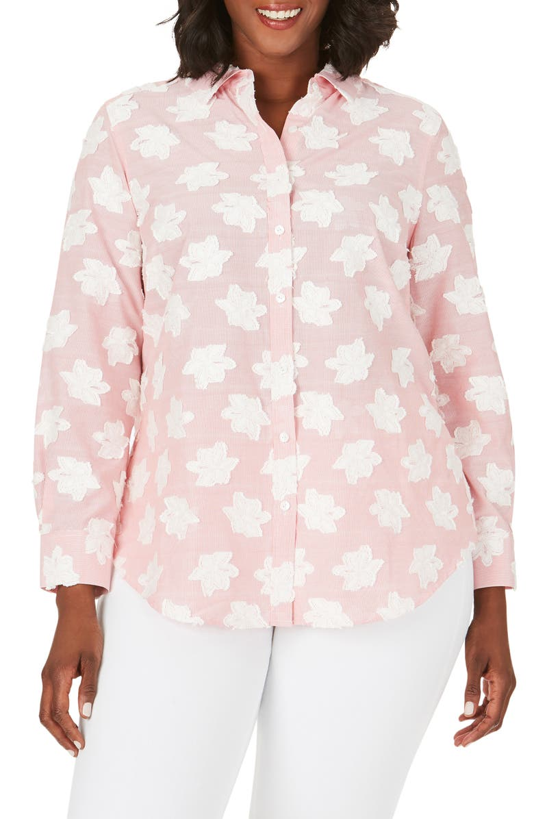 FOXCROFT Havana Clipped Floral Shirt, Main, color, 650