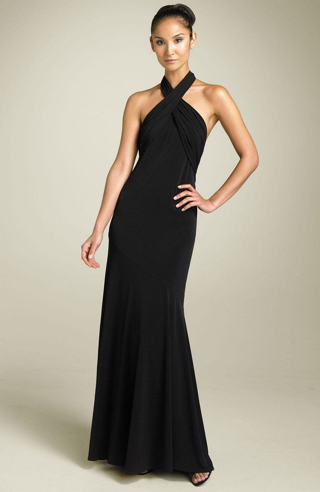 Halter Twist Gown, Main, color, 001
