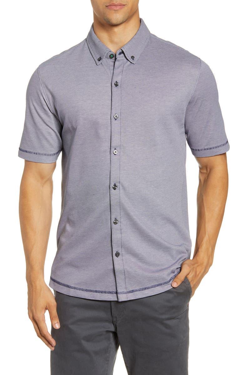 LINKSOUL Drytech Button-Down Short Sleeve Knit Shirt, Main, color, MIDNIGHT