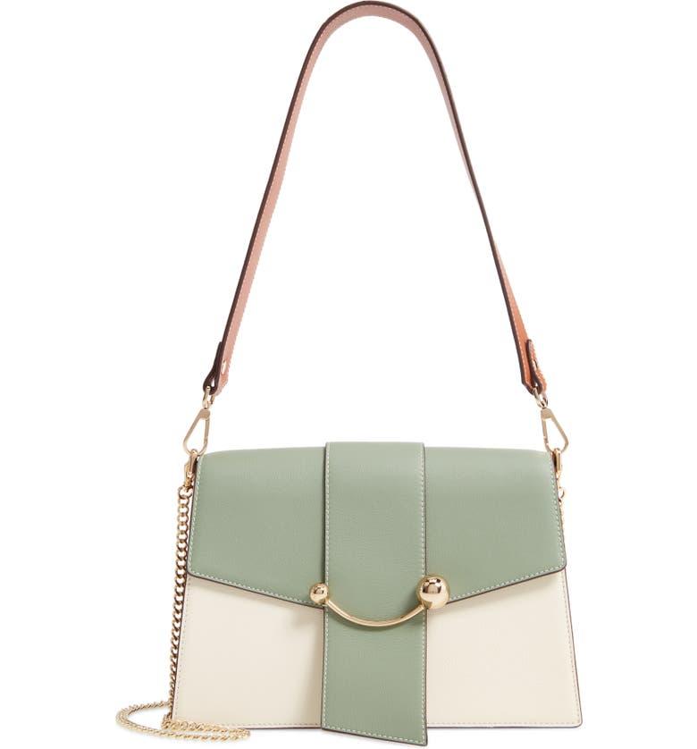 STRATHBERRY Crescent Tricolor Leather Shoulder Bag, Main, color, VANILLA/ SAGE/ CHESTNUT