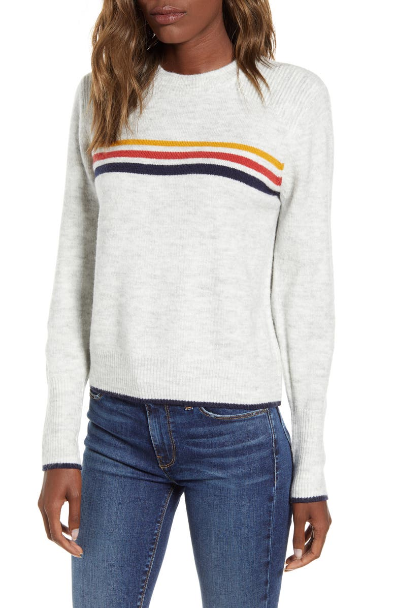 CUPCAKES AND CASHMERE Mikayla Stripe Pullover, Main, color, HEATHER ASH