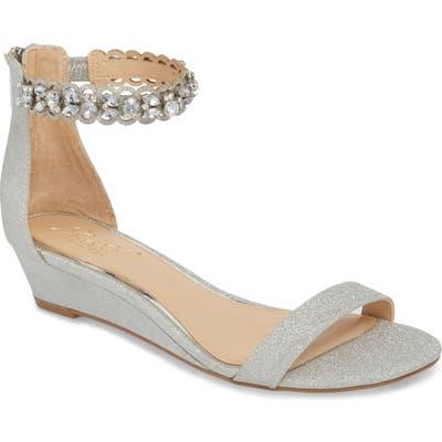 Jewel Badgley Mischka Ginger Wedge Sandal- Metallic