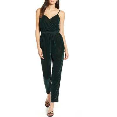 Cupcakes And Cashmere Budapest Wrap Front Velvet Jumpsuit, Green