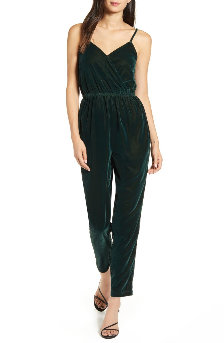 CUPCAKES AND CASHMERE Budapest Wrap Front Velvet Jumpsuit, Main, color, DEEP FOREST