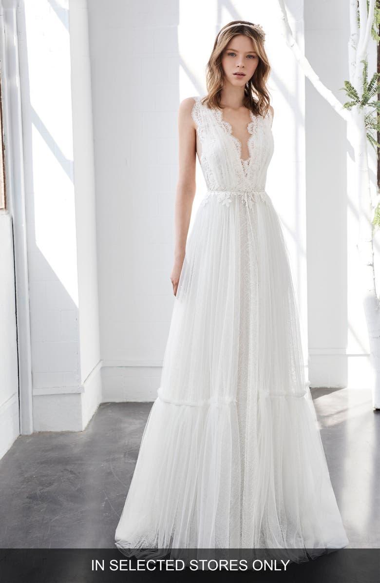 INMACULADA GARCÍA Larimar Lace & Tulle A-Line Gown, Main, color, 900
