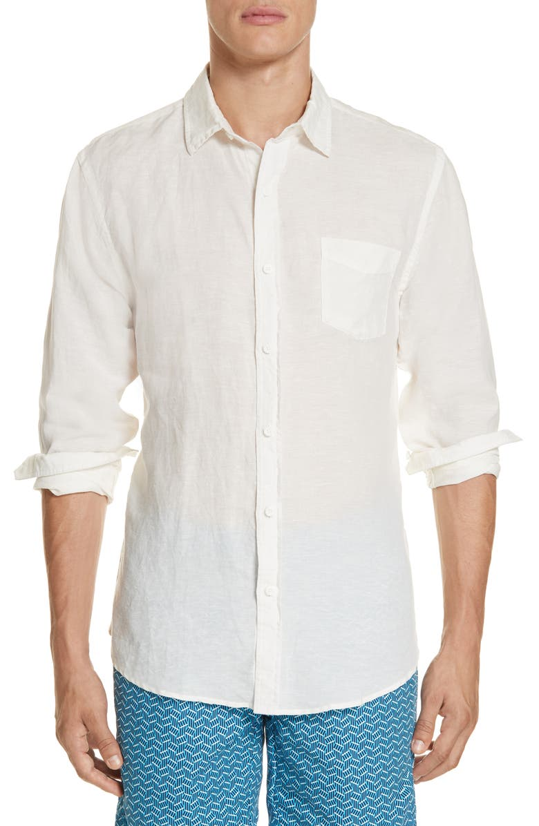 ONIA Abe Linen Blend Shirt, Main, color, WHITE