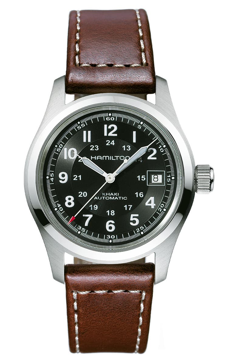 HAMILTON Khaki Field Automatic Leather Strap Watch, 38mm, Main, color, BROWN/ BLACK/ SILVER