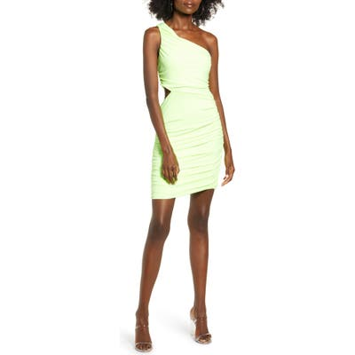 Leith One-Shoulder Body-Con Dress, Green