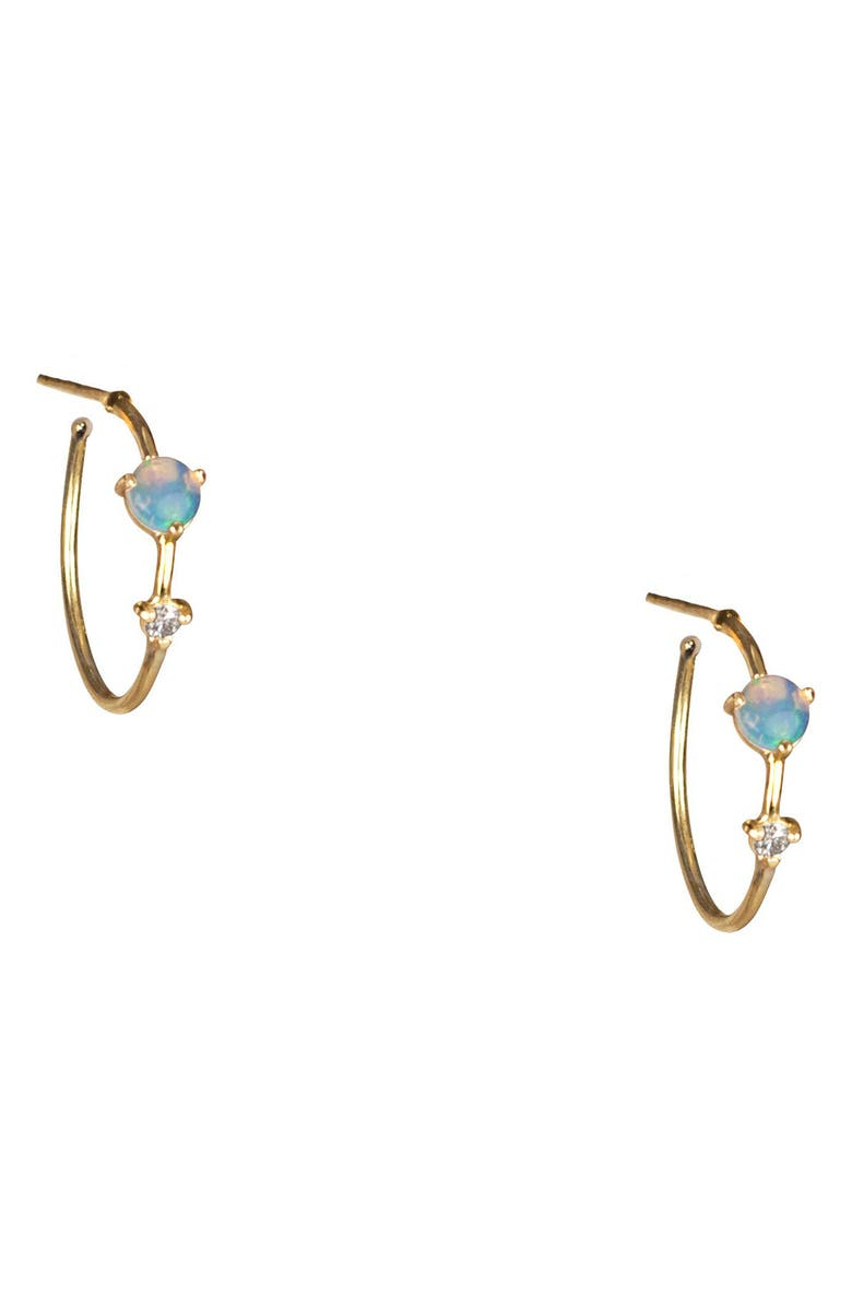 WWAKE Counting Collection Two-Step Diamond & Opal Hoop Earrings, Main, color, YELLOW GOLD/ DIAMOND/ OPAL