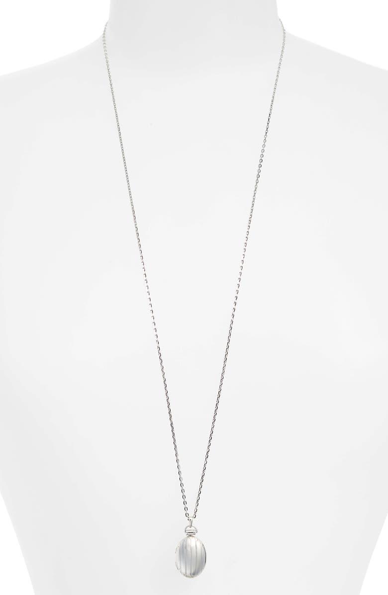 MONICA RICH KOSANN Locket Necklace, Main, color, STERLING SILVER