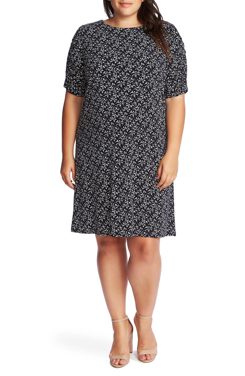 CECE Ruched Sleeve Floral Print Dress, Main, color, CAVIAR