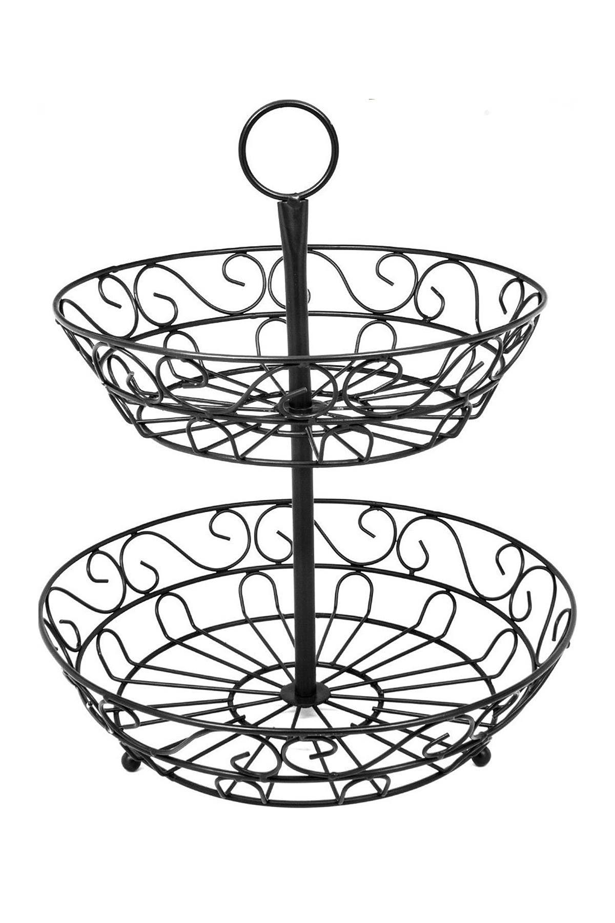 Image of Sorbus Black 2-Tier Countertop Fruit Basket Holder & Decorative Bowl Stand