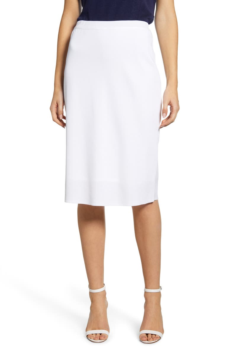 MING WANG A-Line Knit Skirt, Main, color, WHITE