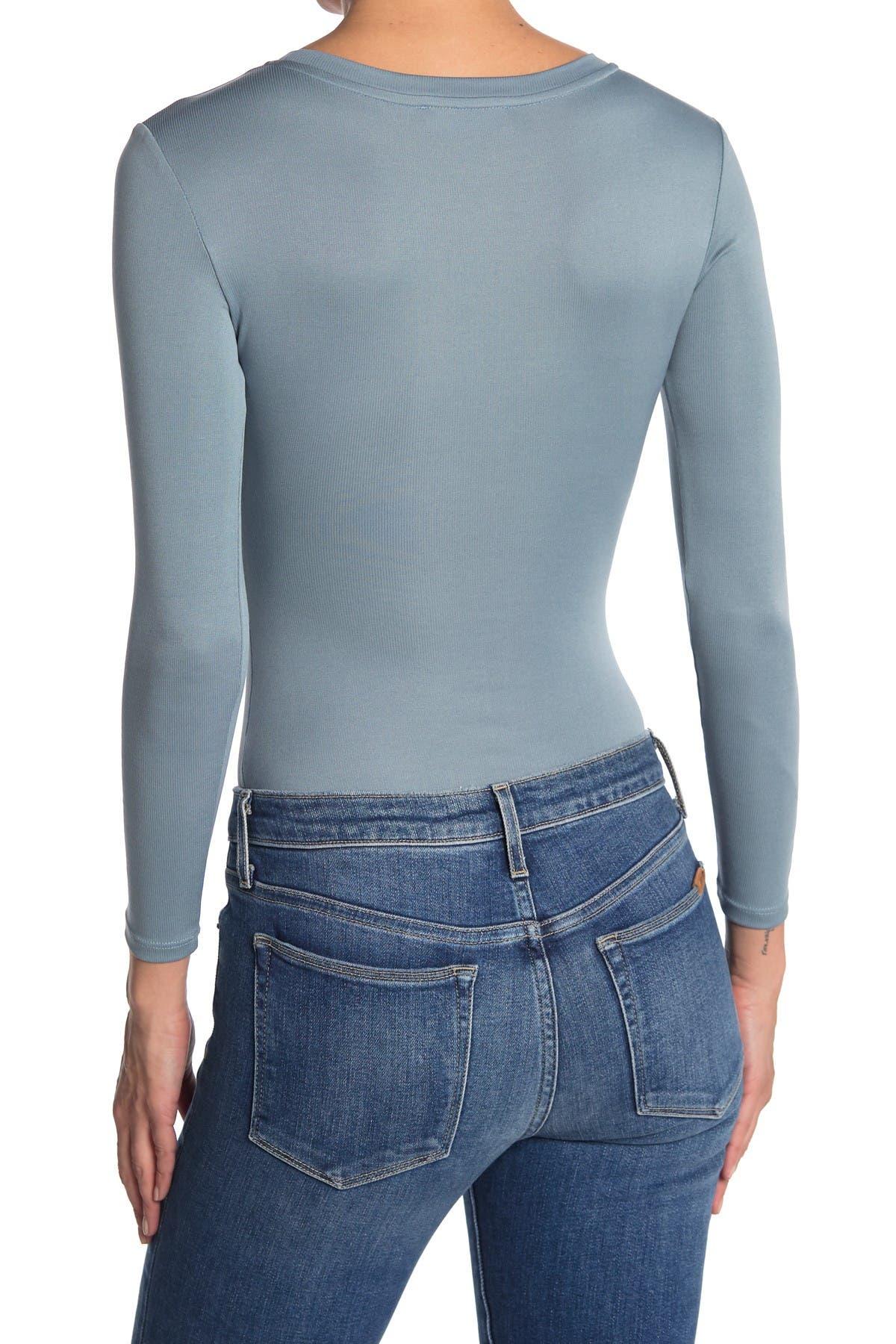 Image of Elodie Ribbed Crew Neck Long Sleeve Bodysuit