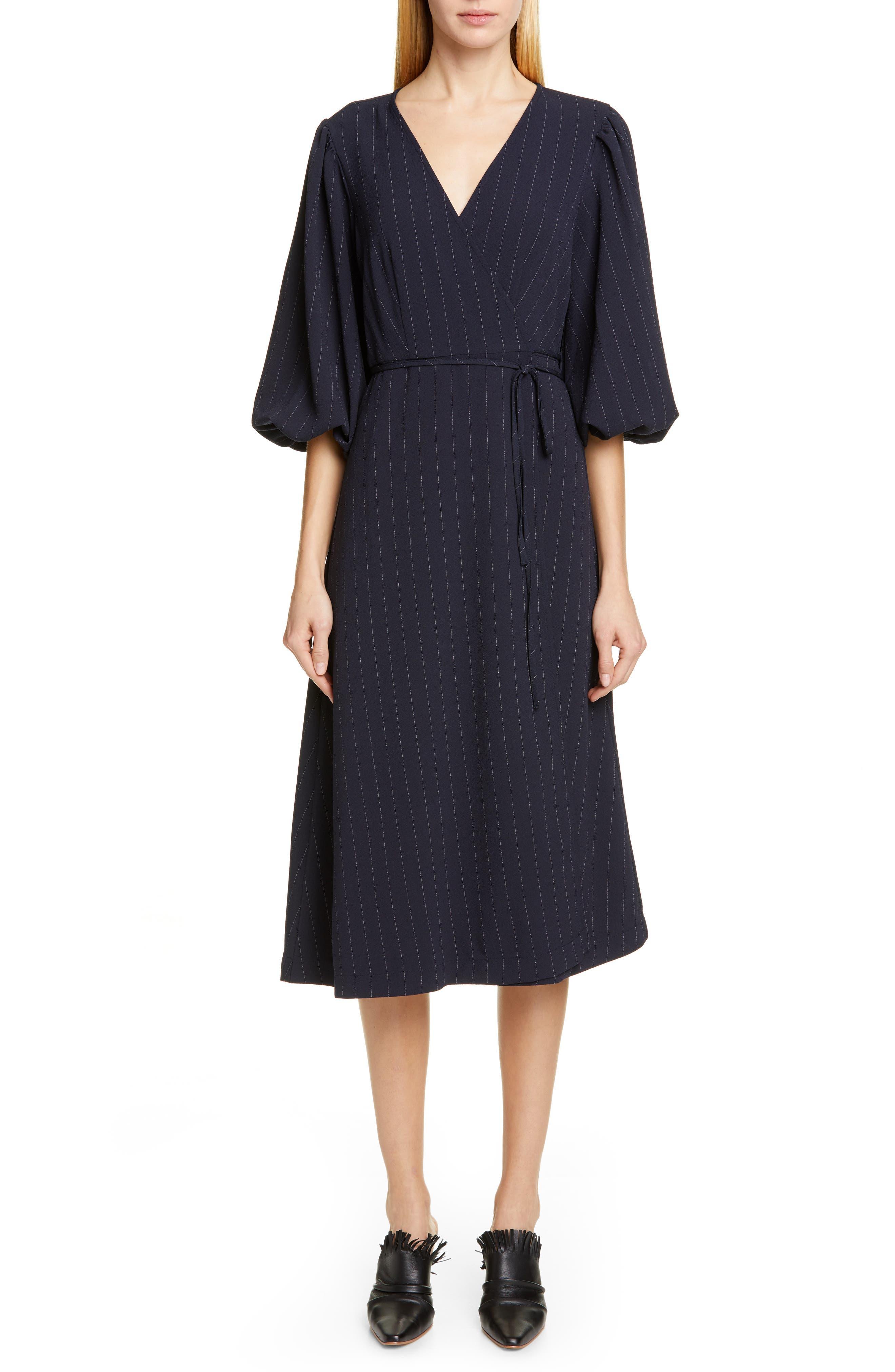 Ganni Heavy Crepe Midi Wrap Dress, Blue