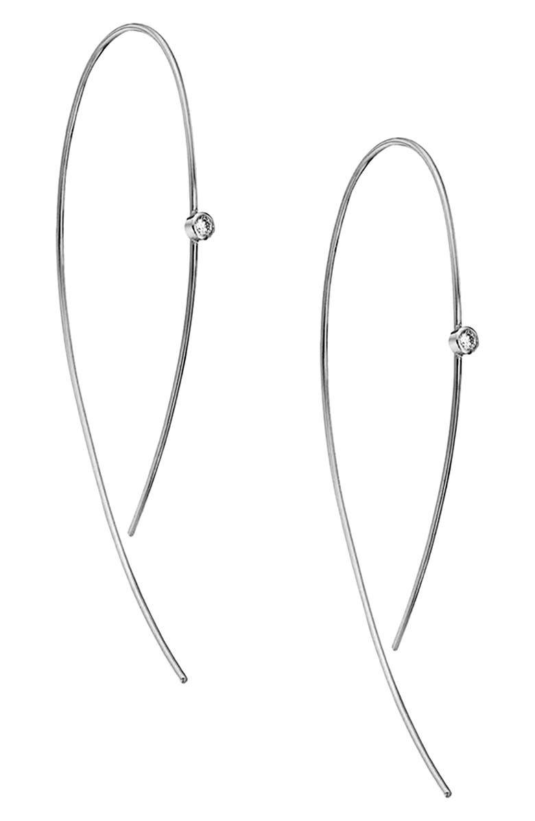 LANA JEWELRY 'Hooked on Hoops' Diamond Earrings, Main, color, 100