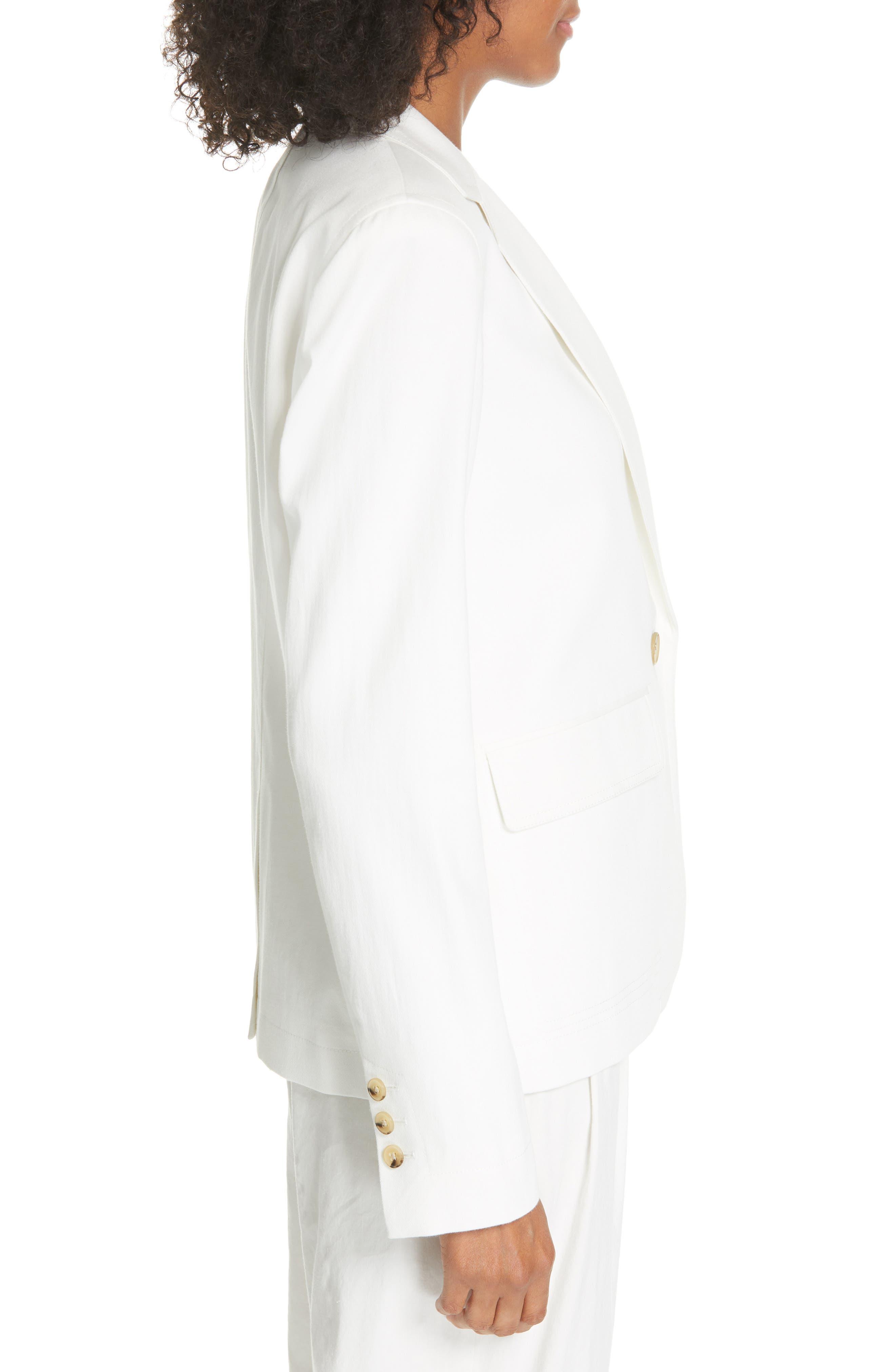 ,                             Cotton & Linen Blend Jacket,                             Alternate thumbnail 4, color,                             OFF WHITE
