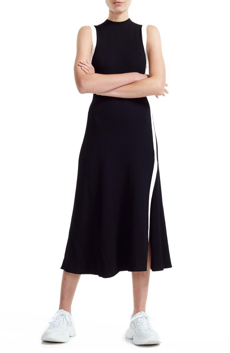 MAJE Rose Knit Midi Dress, Main, color, BLACK