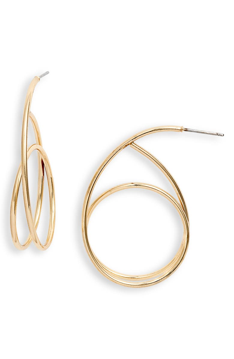 HALOGEN<SUP>®</SUP> Swirl Hoop Earrings, Main, color, GOLD