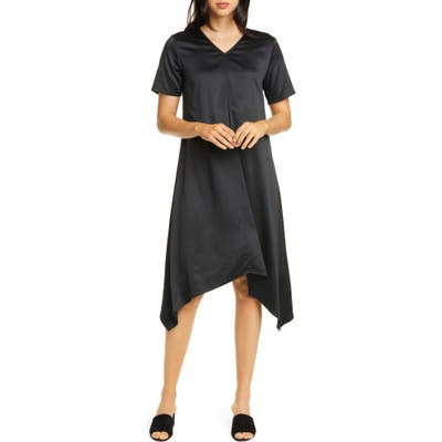 Eileen Fisher Handkerchief Hem Shift Dress, Black