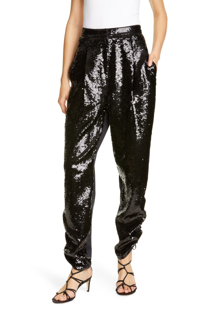 TIBI Sequin Ruched Hem Trousers, Main, color, BLACK/ NAVY MULTI