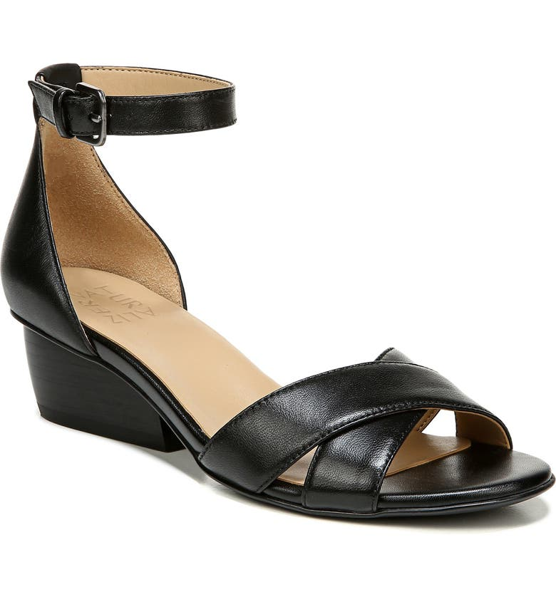 NATURALIZER Caine Ankle Strap Sandal, Main, color, BLACK LEATHER