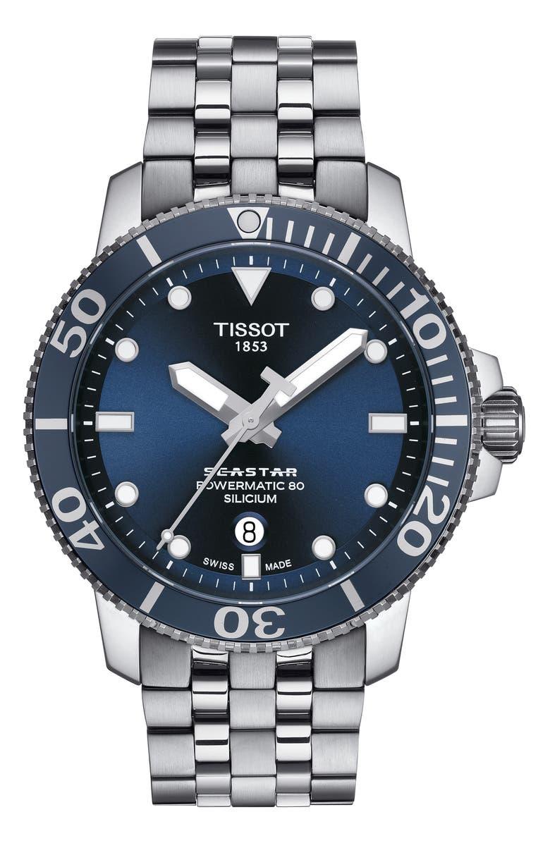 TISSOT Seastar 1000 Powermatic 80 Bracelet Watch, 43mm, Main, color, 040