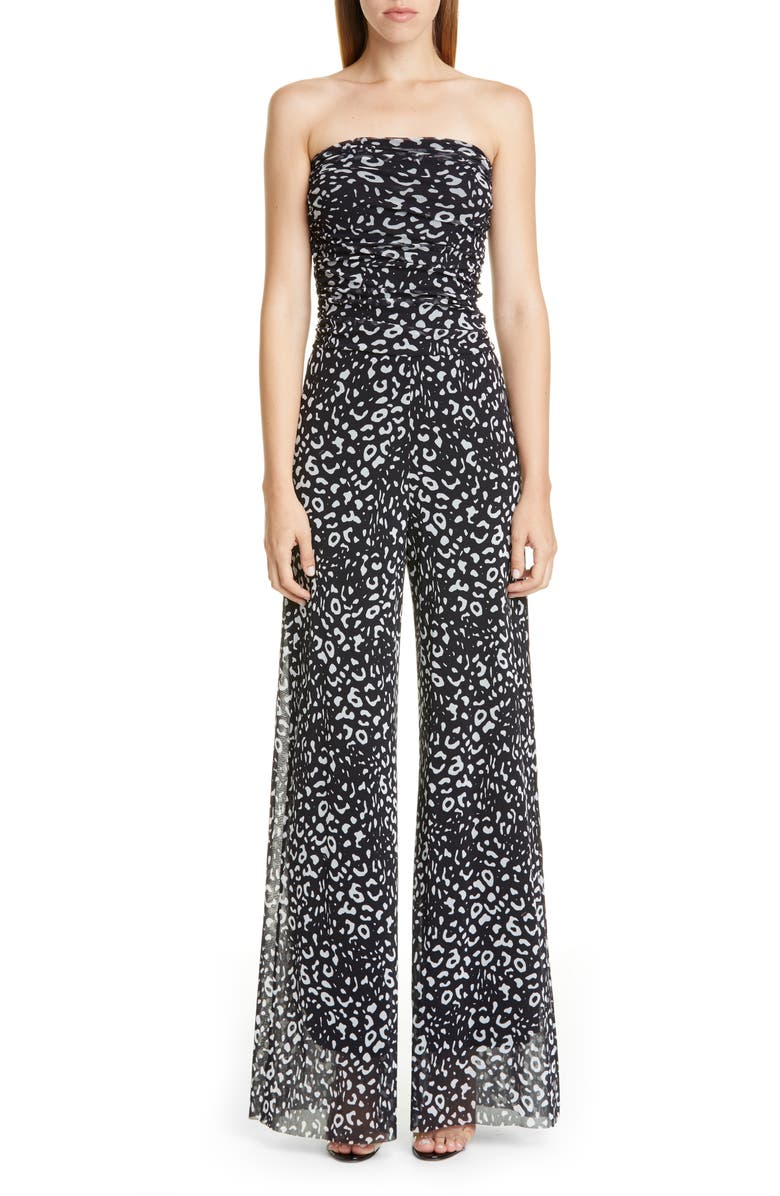 FUZZI Graphic Leopard Print Strapless Jumpsuit, Main, color, NERO