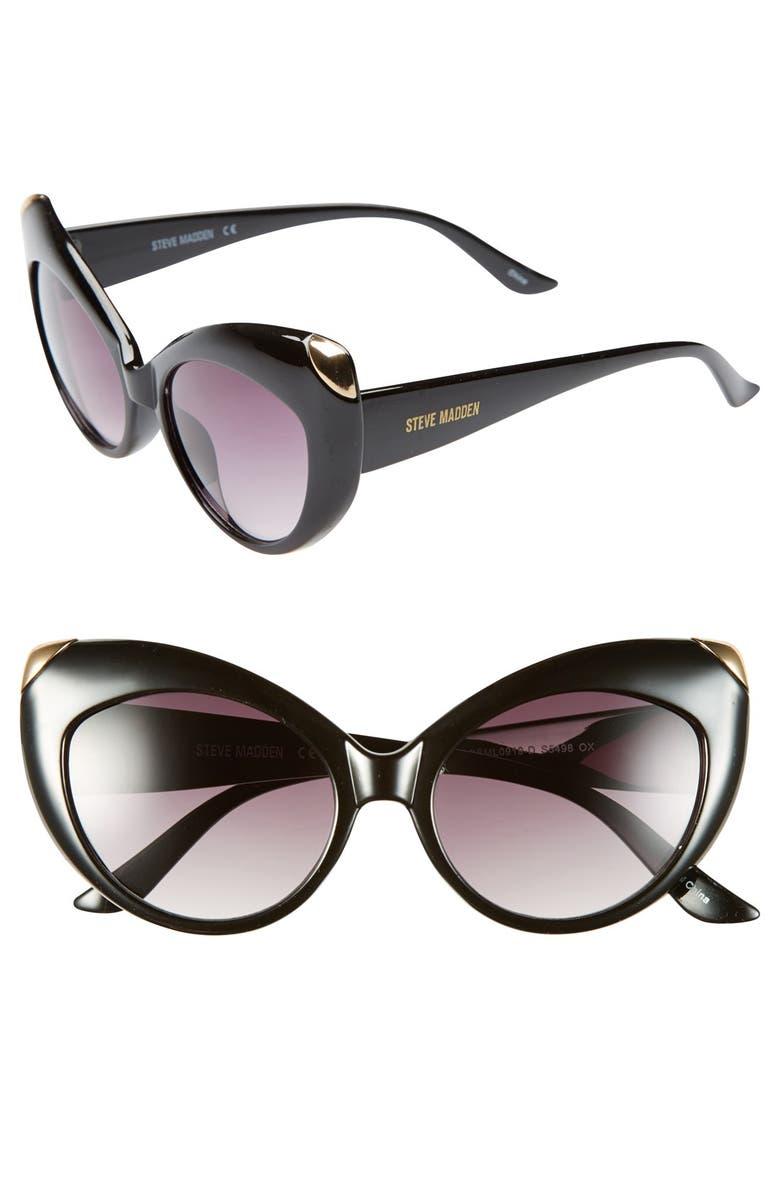 STEVE MADDEN 55mm Cat Eye Sunglasses, Main, color, 001