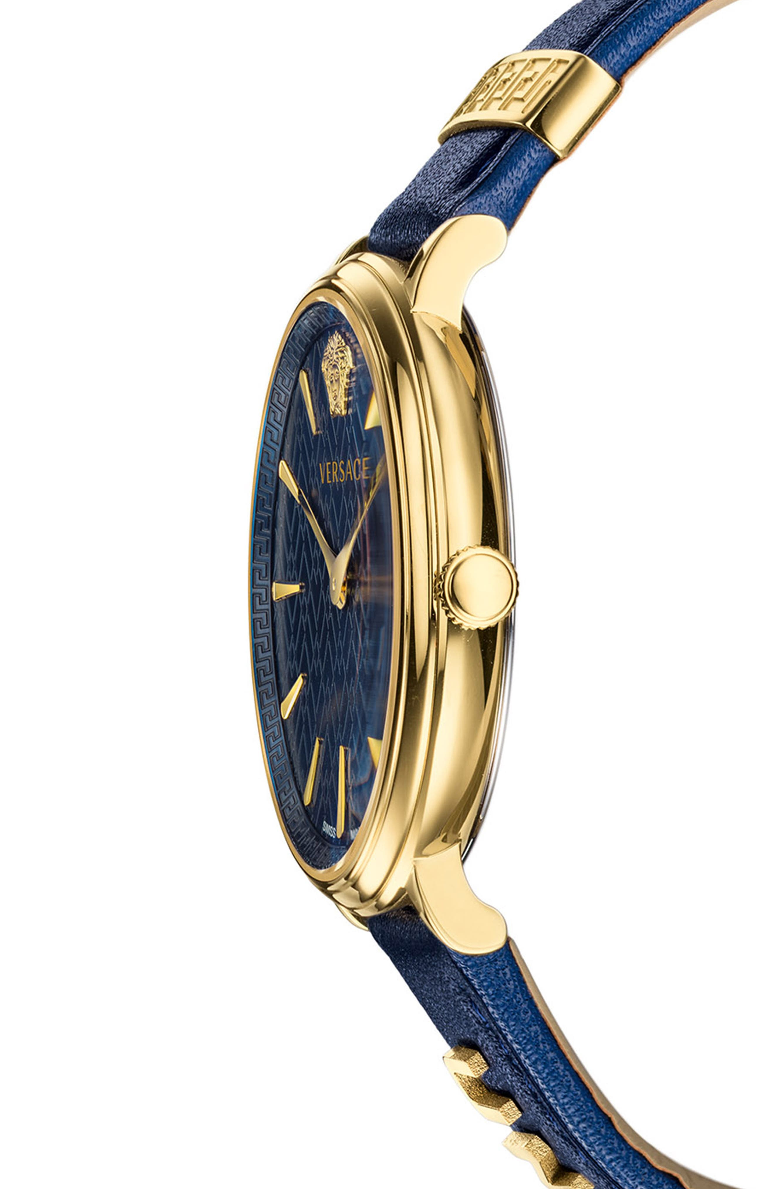 ,                             Manifesto Leather Strap Watch, 38mm,                             Alternate thumbnail 3, color,                             BLUE/ GOLD