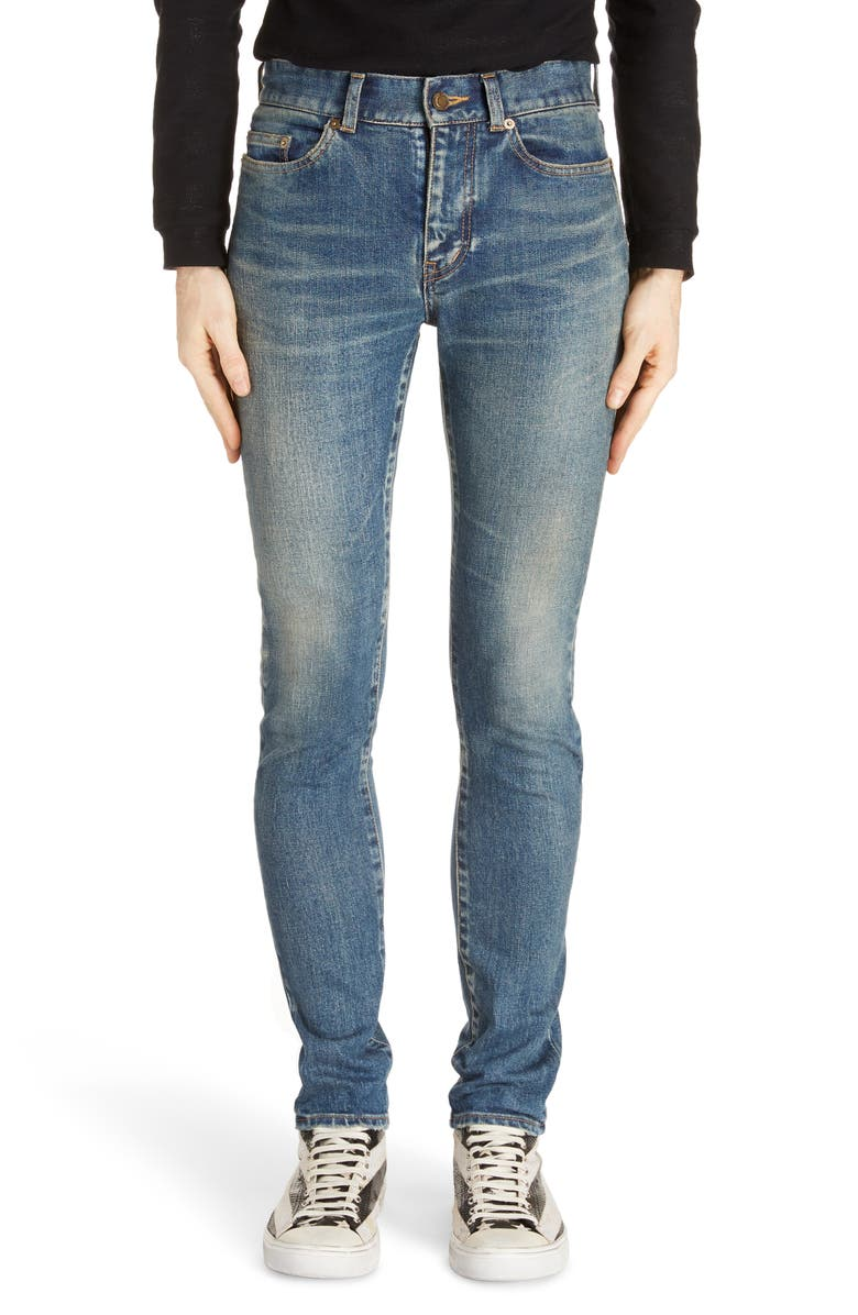 SAINT LAURENT Skinny Fit Jeans, Main, color, BLUE