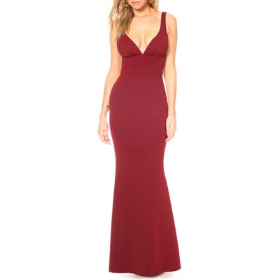 Katie May Helena V-Neck Trumpet Gown, Burgundy