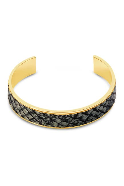 Image of Sterling Forever 14K Gold Plated Brass Snake Open Cuff Bracelet