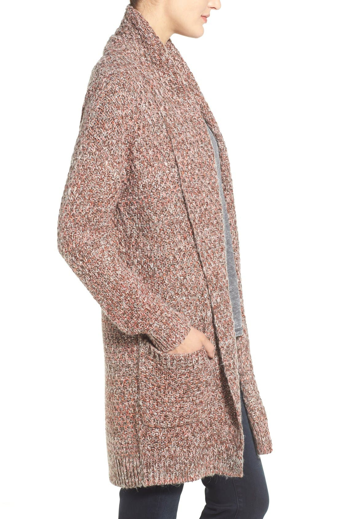 ,                             Marled Long Open Front Cardigan,                             Alternate thumbnail 16, color,                             200
