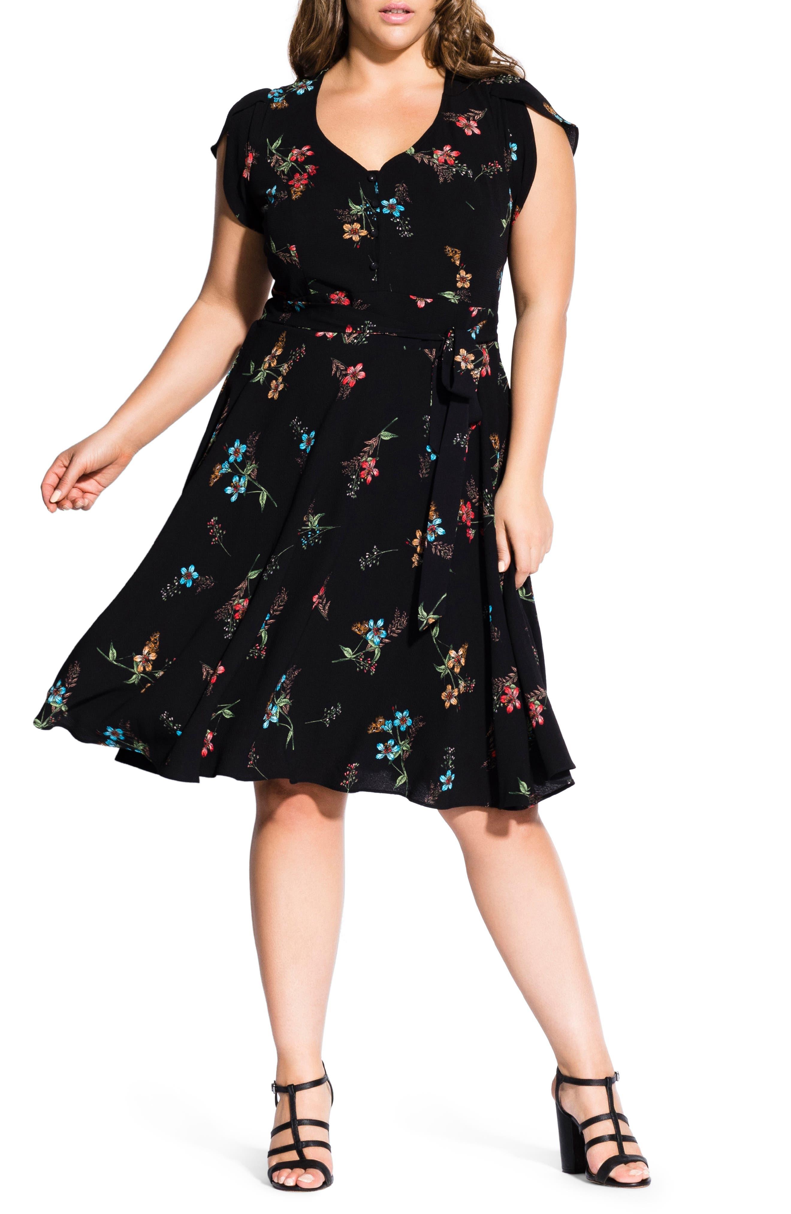 Plus Size City Chic Botanical Print Dress, Black