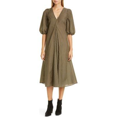 Ganni Check Balloon Sleeve Midi Dress, US / 4 - Green
