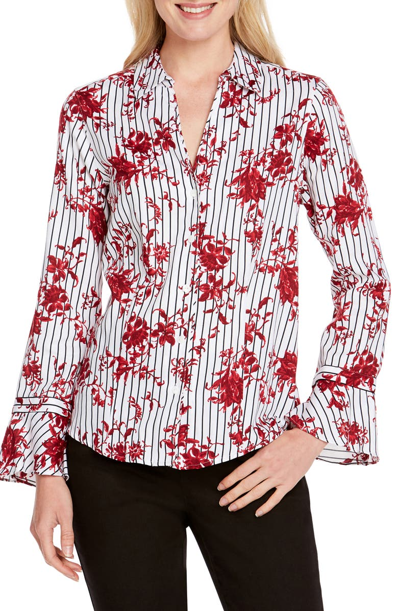 FOXCROFT Ellery Floral Stripe Shirt, Main, color, MULTI