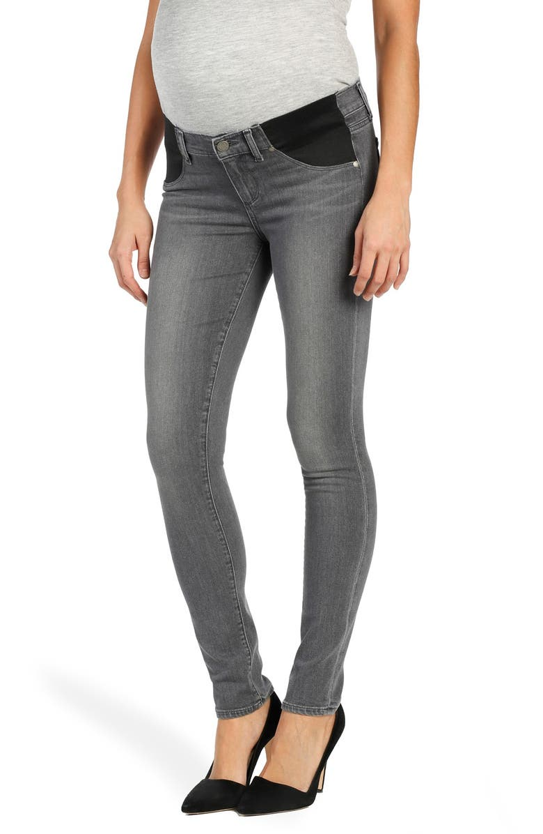 PAIGE Transcend - Verdugo Ultra Skinny Maternity Jeans, Main, color, SILVIE