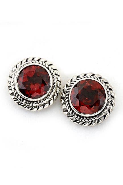 Image of Samuel B Jewelry Sterling Silver Round Garnet Stud Earrings