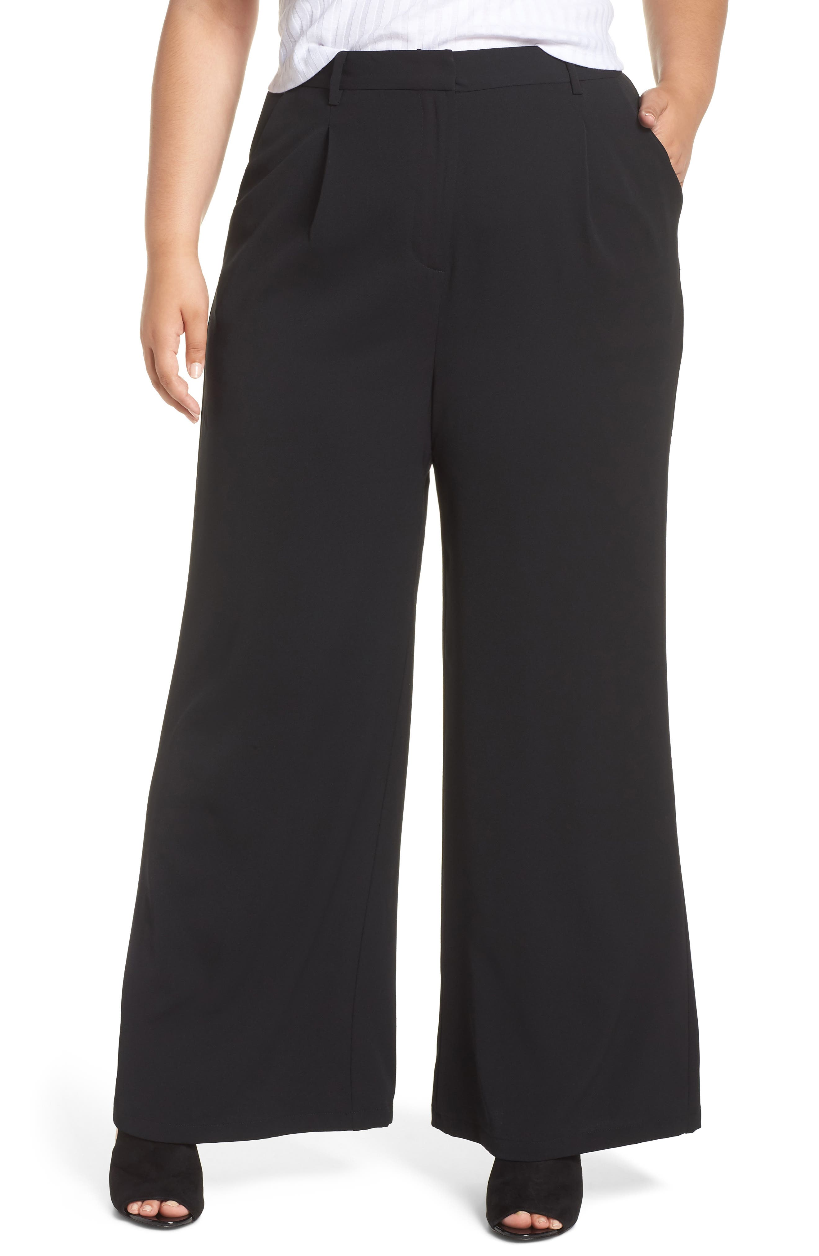 ,                             High Waist Flare Pants,                             Alternate thumbnail 4, color,                             001